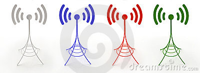 Four antennas sending radio waves