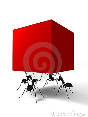 Free Four Ants And Red Box Stock Photos - 12968423