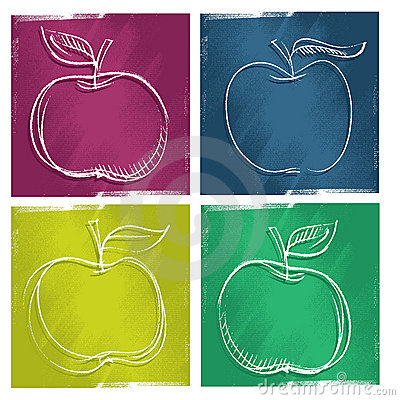Four apple icons, freehand painterly drawing