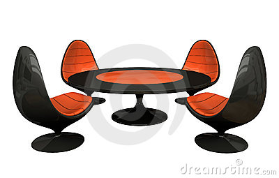 Four armchairs and table