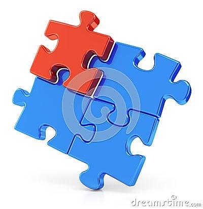 Four assembling puzzle pieces