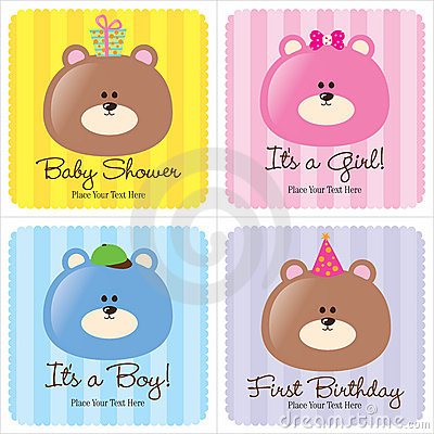 Free Four Assorted Baby Cards Stock Photo - 8969740