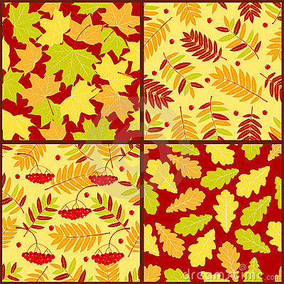 Four autumn seamless patterns