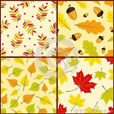 Four autumn seamless patterns