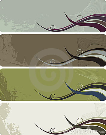 Four banners - abstract grunge background waves