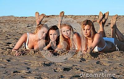 Four beautiful bikini models