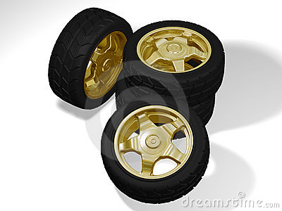 Four big golden wheels