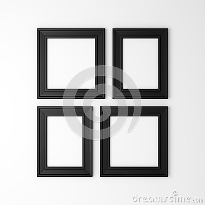 Four blank black photo frames on wall stock illustration for Four blank walls