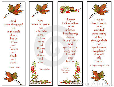 Four Bookmarks: Nature Drawings With Quotes