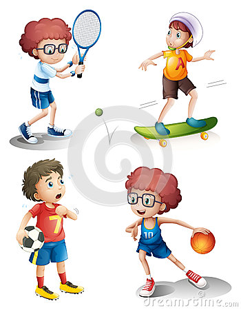 Four boys performing different sports
