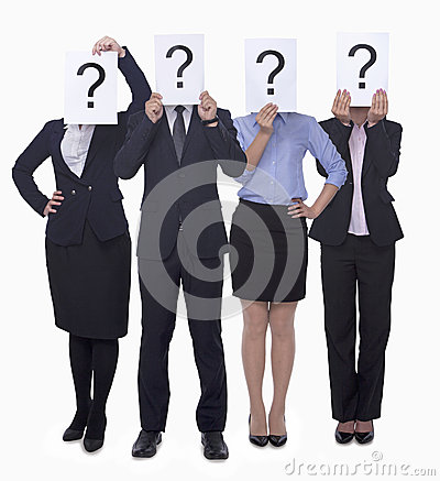 Free Four Business People Holding Up Paper With Question Mark, Obscured Face, Studio Shot Stock Photos - 33402493