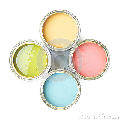 Free Four Cans Of Paint Isolated Royalty Free Stock Photography - 49165097