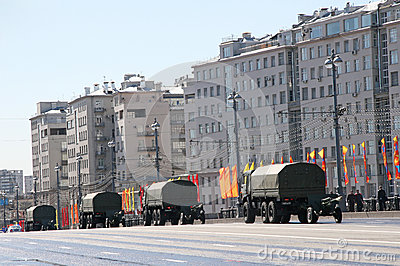 Four cars with artillery equipment Editorial Stock Image