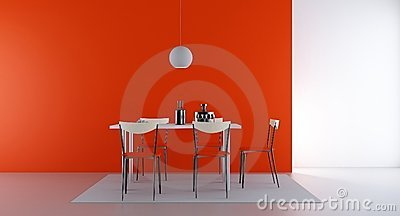 Four Chairs and table to face a blank wall