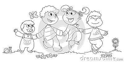 Four children BW