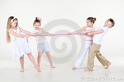 Four children in white clothes overtighten pink rope
