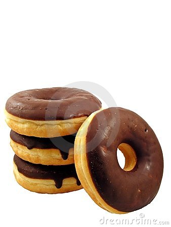 Four chocolate doughnuts