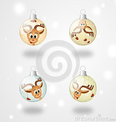 Four christmas ball with funny  reindeer