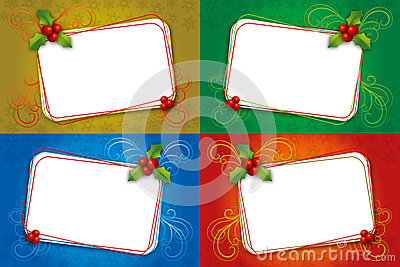Four Christmas card blank frame with mistletoe