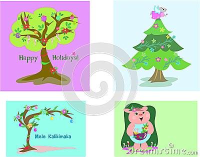 Four Christmas Tags