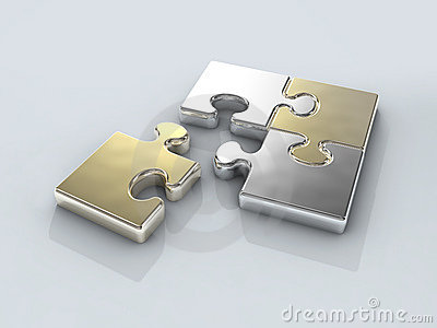 Four Chrome Puzzle Connection Royalty Free Stock Images - Image: 7351709