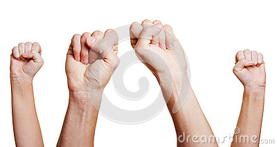 Four clenched fists