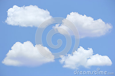 Four clouds with blue sky
