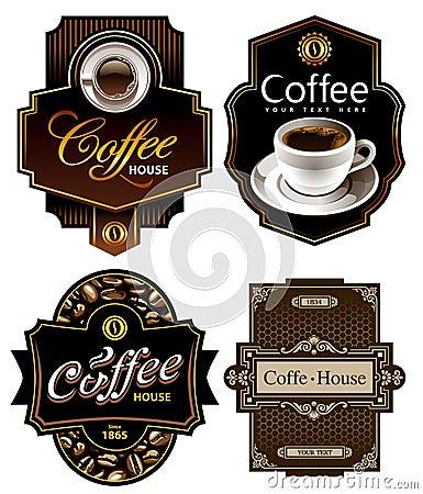 Free Four Coffee Design Templates Royalty Free Stock Photos - 22002608