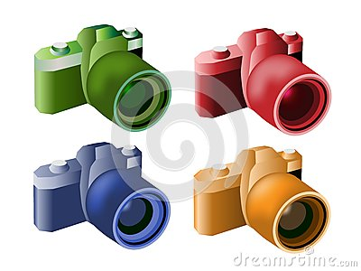 Four Color Illustration of Modern Digital Cameras