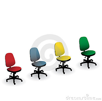 Four color office chairs