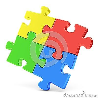 Four color puzzle pieces