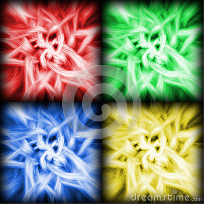 Four Color Soft Flower Swirls Background