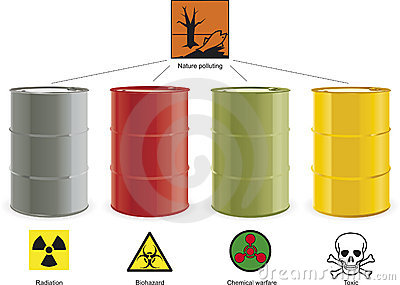 Four colored barrels