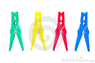 Four colored clothespin