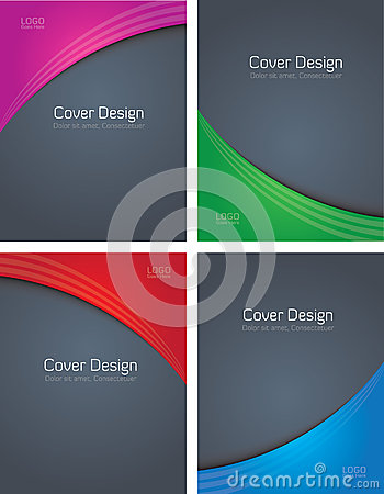 Four Colored Covers On Grey