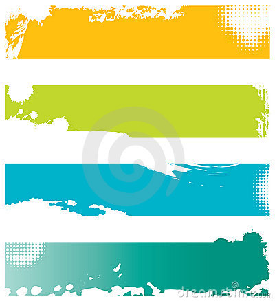Four colored grunge banners