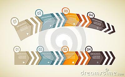 Four colored paper arrows
