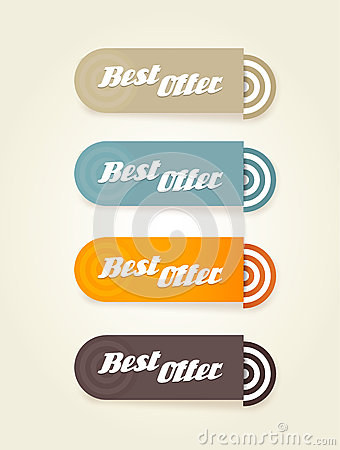 Four colored paper stipes with best offer text.