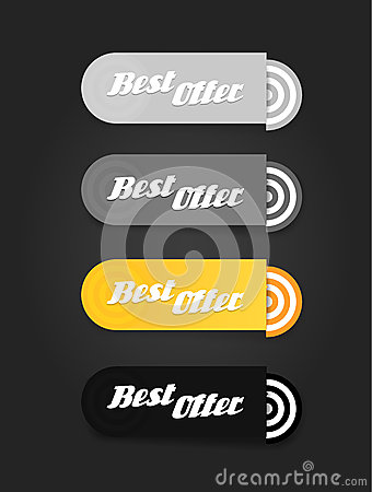 Four colored paper stripes with best offer text.