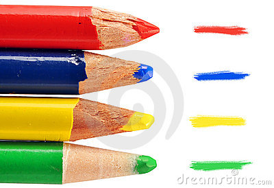 Four colored pencils