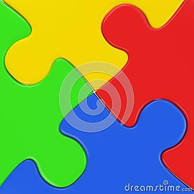 Four colored puzzle pieces close up