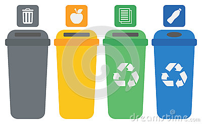 Four colored recycling bins. Vector Illustration