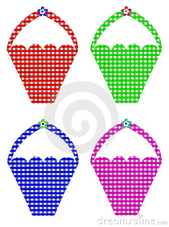 Four Colorful Gingham Baskets