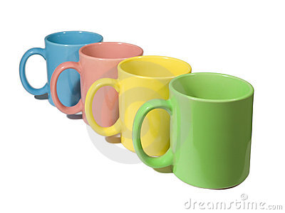 Four colorful mugs