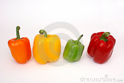Four colorful paprica vegetables