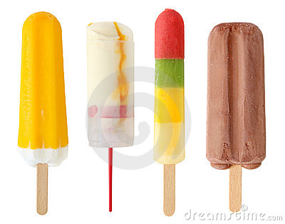 Four colorful popsicle