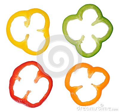 Free Four Colorful Slices Of Bell Pepper Royalty Free Stock Photo - 29236495