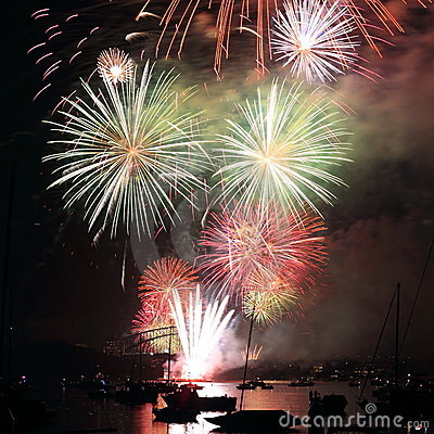 Colorful fireworks display in Sydney
