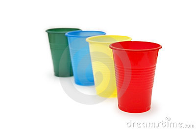Four colourful plastic cups