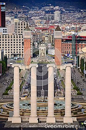 Four columns and Plaza de Espana, Barcelona